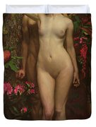 Adam And Eve With The Snake Duvet Cover