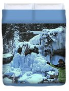 Adam Jewell Hiking In Maligne Canyon Duvet Cover