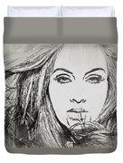 Adele Charcoal Sketch Duvet Cover