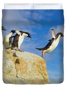 Adelie Penguins Jumping Duvet Cover