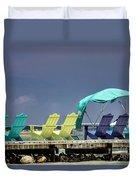 Adirondack Chairs At Coyaba Mahoe Bay Jamaica. Duvet Cover