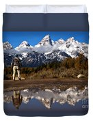 Admiring The Teton Sights Duvet Cover