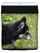 Adorable Alusky Pup Creeping Through Tall Blades Of Grass Duvet Cover