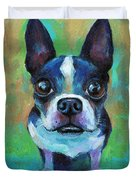 Adorable Boston Terrier Dog Duvet Cover
