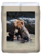 Adorable Grizzly Bear Playing With A Maple Leaf While Sitting In Duvet Cover