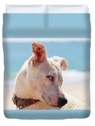 Adorable Small Dog On The Beach Duvet Cover