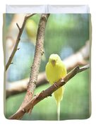 Adorable Yellow Budgie Parakeet Relaxing In A Tree Duvet Cover