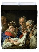 Adoration Of The Infant Jesus Duvet Cover