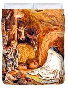 Adoration Of The Shepherds Nativity Duvet Cover