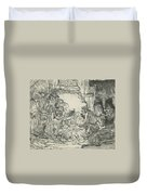 Adoration Of The Shepherds, With Lamp Duvet Cover