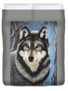Adult Grey Wolf Duvet Cover by David Hawkes