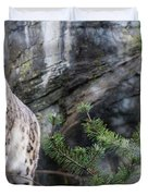 Adult Snow Leopard Standing On Rocky Ledge Duvet Cover