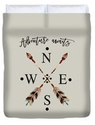 Adventure Waits Typography Arrows Compass Cardinal Directions Duvet Cover