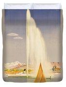 Advertisement For Travel To Geneva Duvet Cover