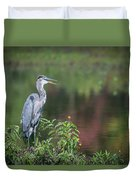 Advice From A Great Blue Heron Duvet Cover by Cindy Lark Hartman
