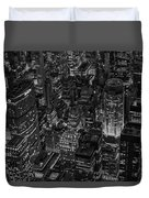 Aerial New York City Skyscrapers Bw Duvet Cover