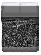 Aerial New York City Sunset Bw Bw Duvet Cover