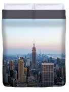 Aerial Night View Of Manhattan Skyline In New York Duvet Cover