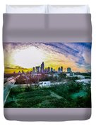 Aerial Of Charlotte North Carolina Skyline Duvet Cover