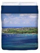 aerial of  Hanalei Bay and Princeville Resort Duvet Cover