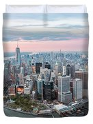 Aerial Of Lower Manhattan Peninsula At Sunset, New York, Usa Duvet Cover