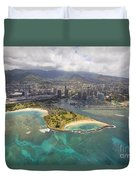 Aerial Of Magic Island Duvet Cover