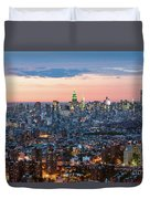 Aerial Of Midtown Manhattan With Empire State Building, New York Duvet Cover
