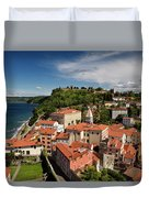 Aerial Of Piran Slovenia On Gulf Of Trieste Adriatic Sea With St Duvet Cover