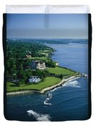Aerial Of The Breakers, A Mansion Built Duvet Cover