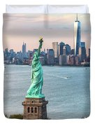 Aerial Of The Statue Of Liberty At Sunset, New York, Usa Duvet Cover