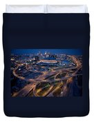Aerial Of The Superdome In The Downtown Duvet Cover