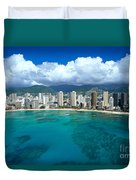 Aerial Of Waikiki Duvet Cover
