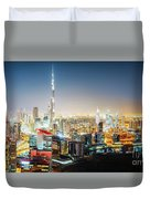 Aerial Panorama View Of Dubai By Night Duvet Cover