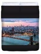 Aerial Panoramic Of Midtown Manhattan At Dusk, New York City, Us Duvet Cover