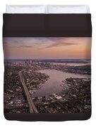 Aerial Seattle View Along Interstate 5 Duvet Cover