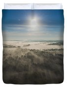 Aerial Sunrise Over Fog Duvet Cover