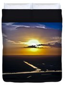 Aerial Sunset Over Canal Duvet Cover