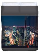 Aerial View Cityscape At Night In Tokyo Japan From A Skyscraper Duvet Cover