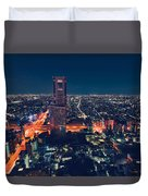 Aerial View Cityscape At Night In Tokyo Japan Duvet Cover