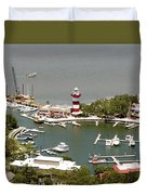 Aerial View Harbour Town Lighthouse In Hilton Head Island Duvet Cover