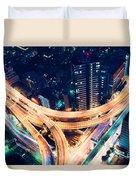 Aerial-view Highway Junction At Night In Tokyo Japan Duvet Cover