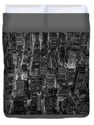 Aerial View Midtown Manhattan Nyc Bw Duvet Cover