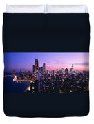 Aerial View Of A City At The Lakeside Duvet Cover