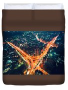 Aerial View Of A Massive Highway Intersection In Tokyo Duvet Cover