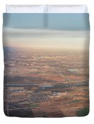Aerial View Of Downtown Austin From Plane About To Land Duvet Cover