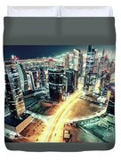 Aerial View Of Dubai's Business Bay At Night. Duvet Cover