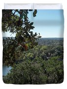Aerial View Of Large Forest And Lake Duvet Cover