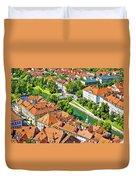 Aerial View Of Ljubljana Green River Duvet Cover