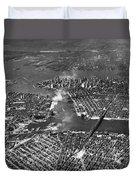 Aerial View Of Lower Manhattan Duvet Cover