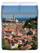Aerial View Of Piran Slovenia With St George's Cathedral On The  Duvet Cover